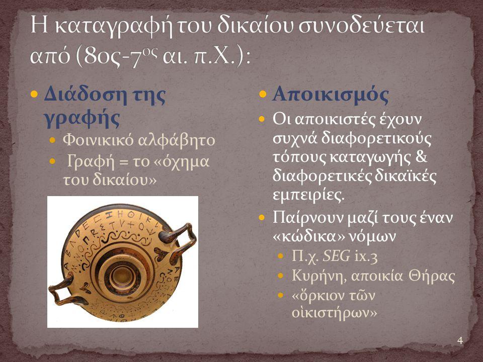 Η καταγραφή του δικαίου συνοδεύεται από (80ς-7ος αι. π.Χ.):