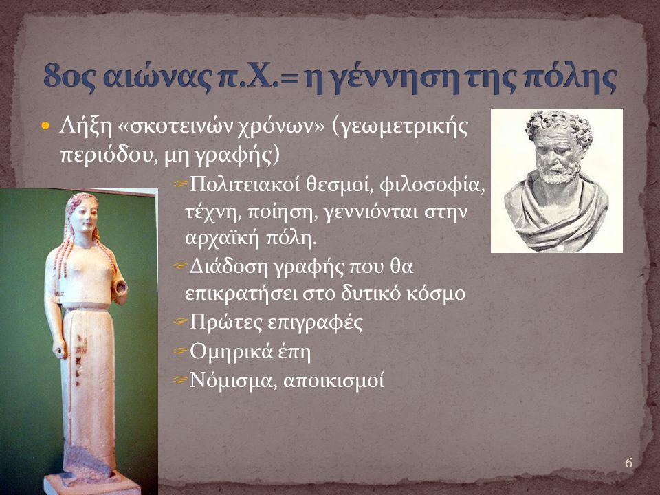80ς αιώνας π.Χ.= η γέννηση της πόλης