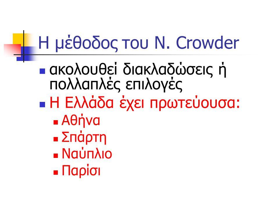 Η μέθοδος του N. Crowder ακολουθεί διακλαδώσεις ή πολλαπλές επιλογές