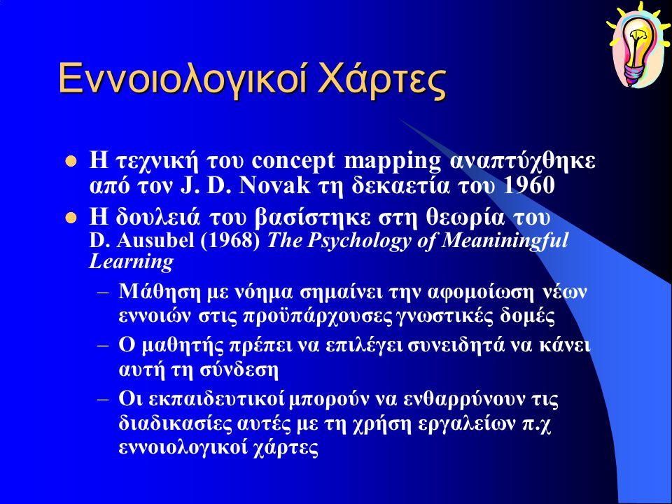 Εννοιολογικοί Χάρτες Η τεχνική του concept mapping αναπτύχθηκε από τον J. D. Novak τη δεκαετία του 1960.