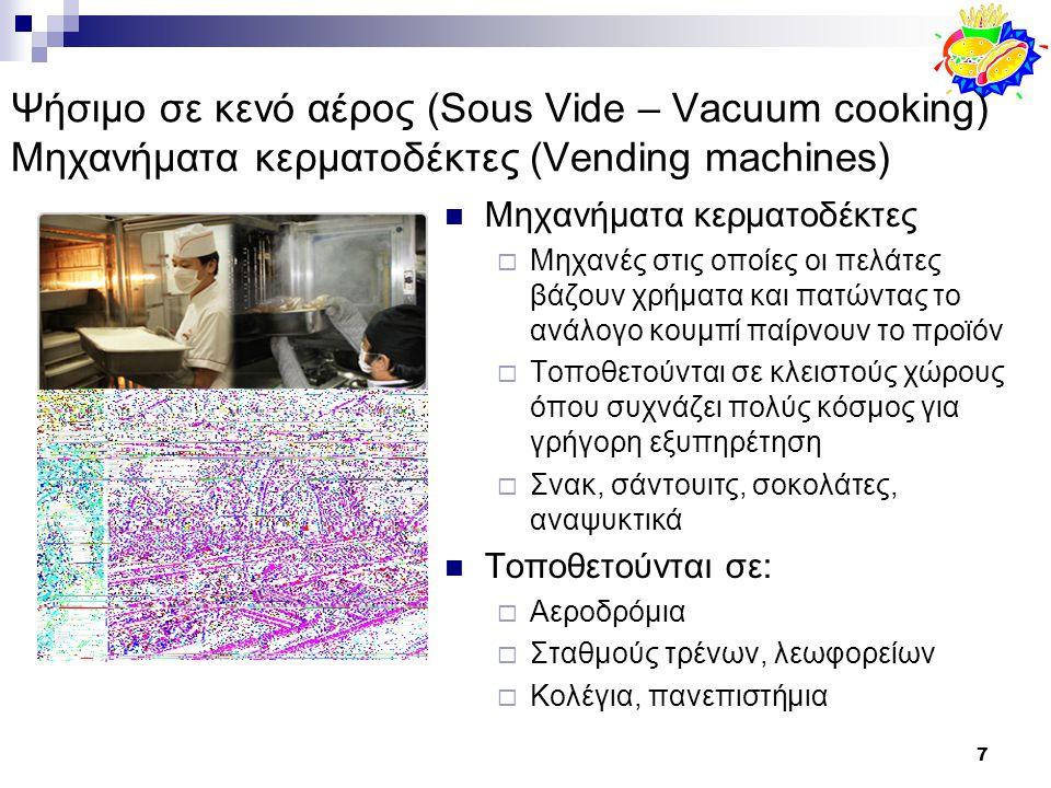 Ψήσιμο σε κενό αέρος (Sous Vide – Vacuum cooking) Μηχανήματα κερματοδέκτες (Vending machines)