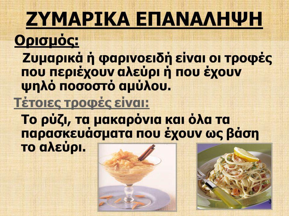 ΖΥΜΑΡΙΚΑ ΕΠΑΝΑΛΗΨΗ Ορισμός: Τέτοιες τροφές είναι: