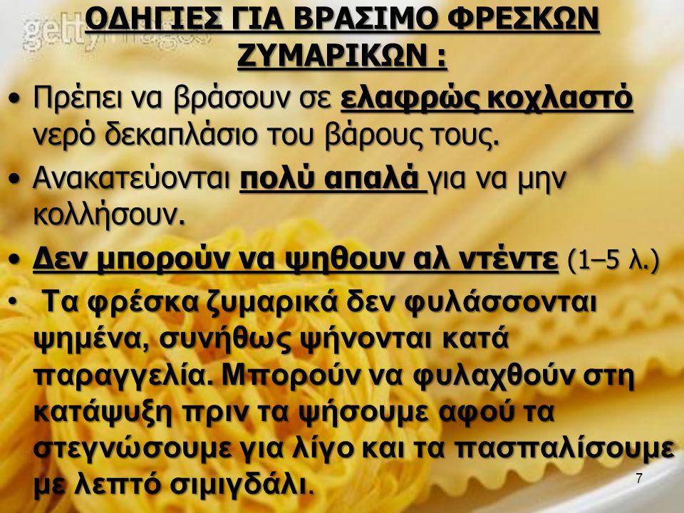 ΟΔΗΓΙΕΣ ΓΙΑ ΒΡΑΣΙΜΟ ΦΡΕΣΚΩΝ ΖΥΜΑΡΙΚΩΝ :