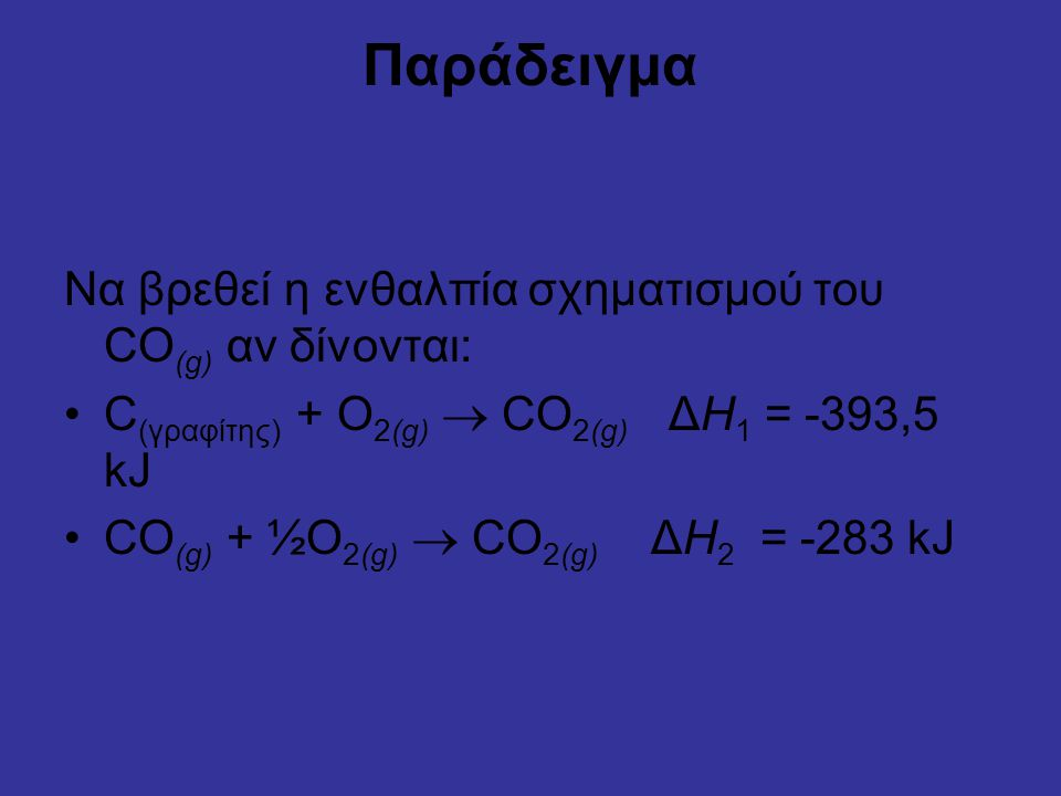 Παράδειγμα Να βρεθεί η ενθαλπία σχηματισμού του CO(g) αν δίνονται: