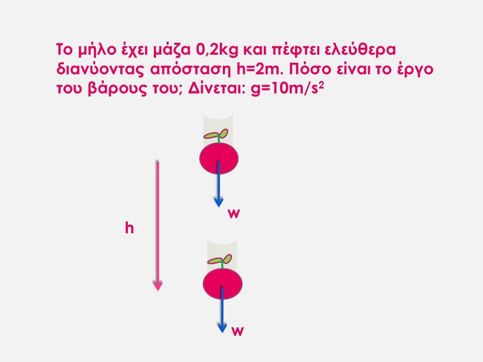 Το μήλο έχει μάζα 0,2kg και πέφτει ελεύθερα διανύοντας απόσταση h=2m