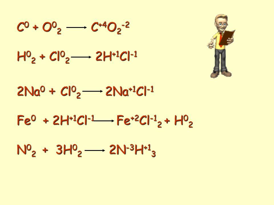 C0 + O02 C+4O2-2 H02 + Cl02 2H+1Cl-1. 2Na0 + Cl02 2Na+1Cl-1. Fe0 + 2H+1Cl-1 Fe+2Cl-12 + H02.