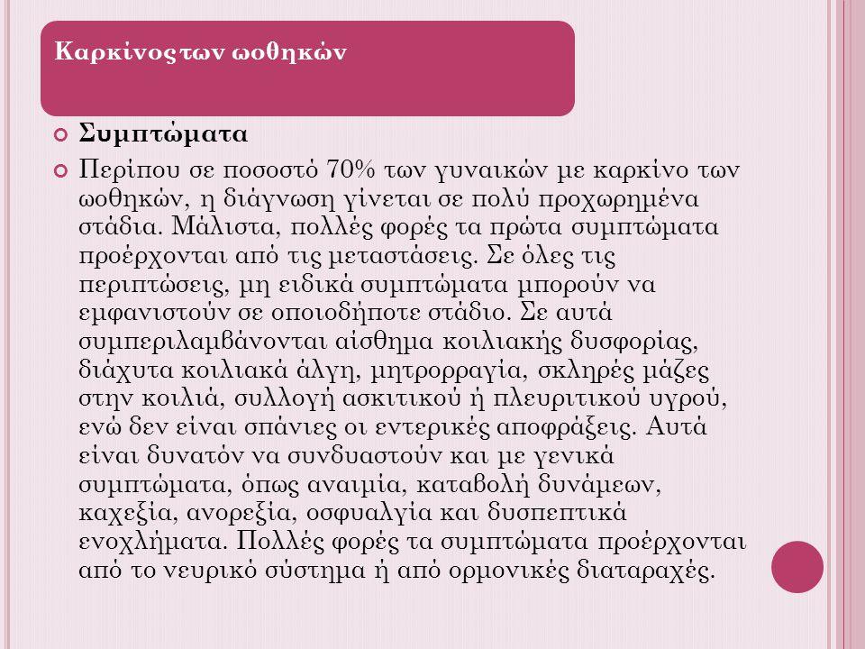 Καρκίνος των ωοθηκών Συμπτώματα.