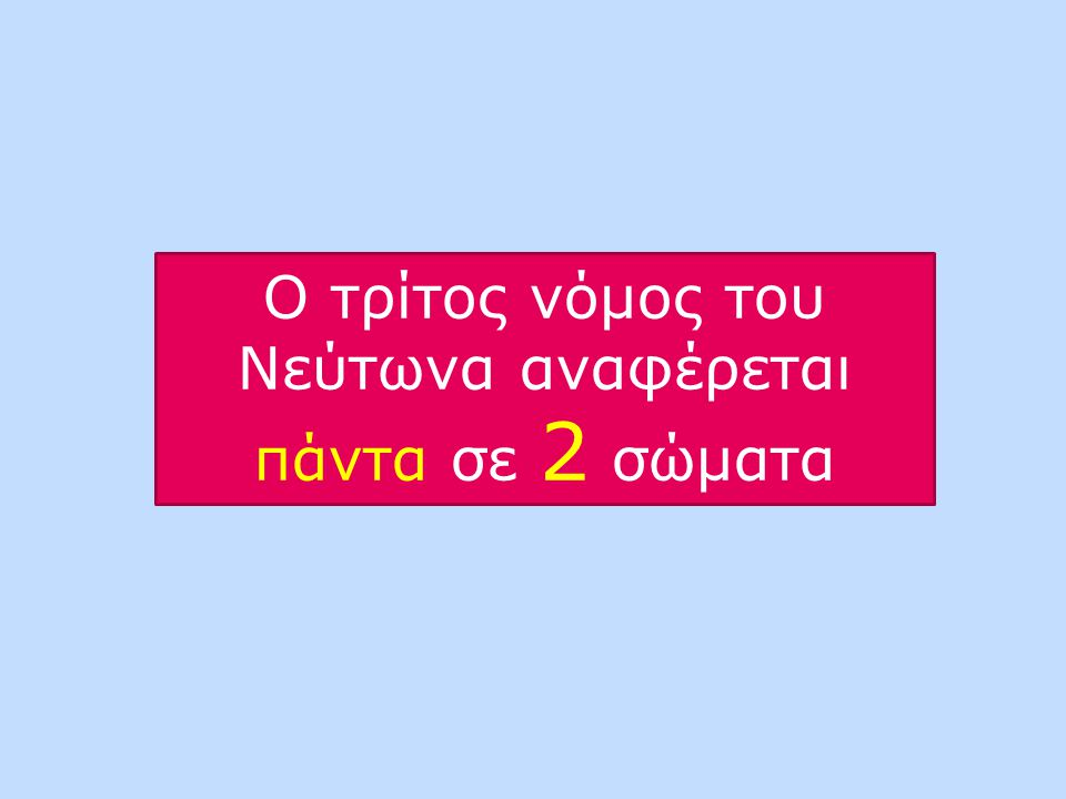 Ο τρίτος νόμος του Νεύτωνα αναφέρεται πάντα σε 2 σώματα