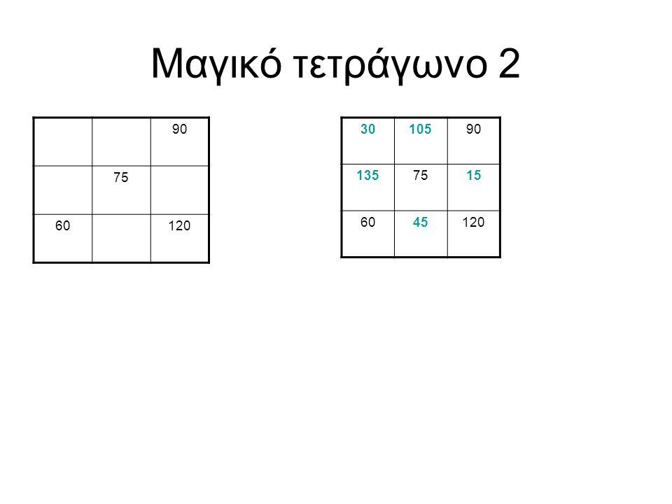 Μαγικό τετράγωνο 2 90 75 60 120 30 105 90 135 75 15 60 45 120