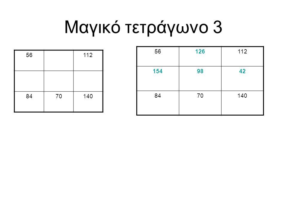 Μαγικό τετράγωνο 3 56 126 112 154 98 42 84 70 140 56 112 84 70 140