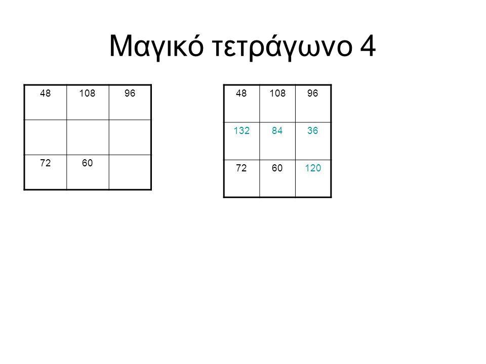Μαγικό τετράγωνο 4 48 108 96 72 60 48 108 96 132 84 36 72 60 120