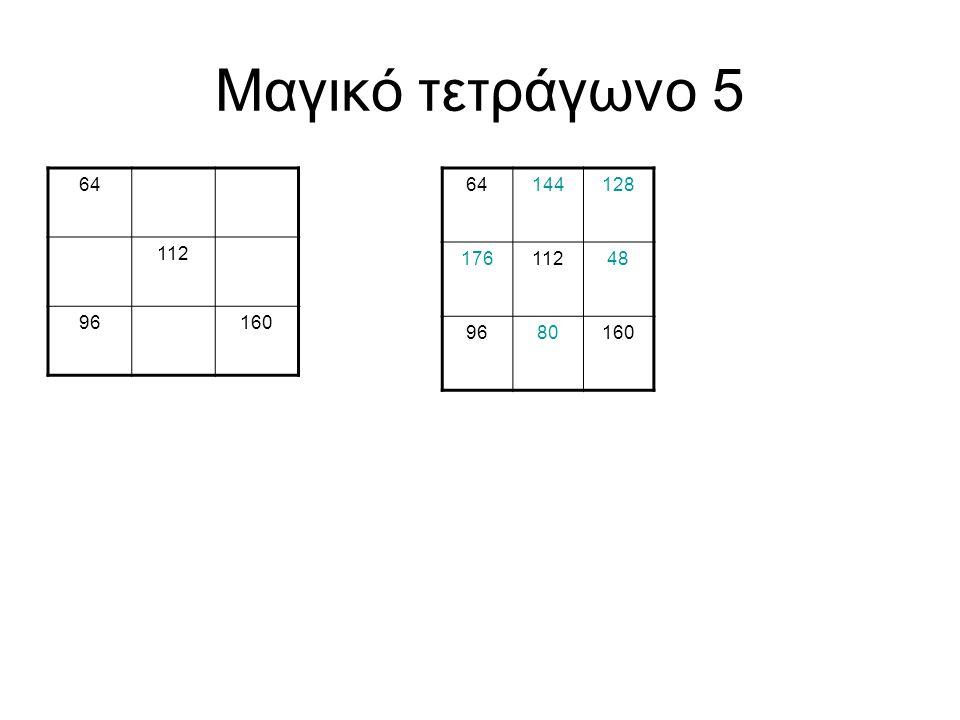 Μαγικό τετράγωνο 5 64 112 96 160 64 144 128 176 112 48 96 80 160