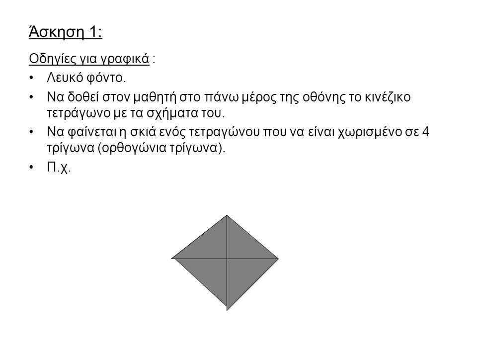 Άσκηση 1: Οδηγίες για γραφικά : Λευκό φόντο.