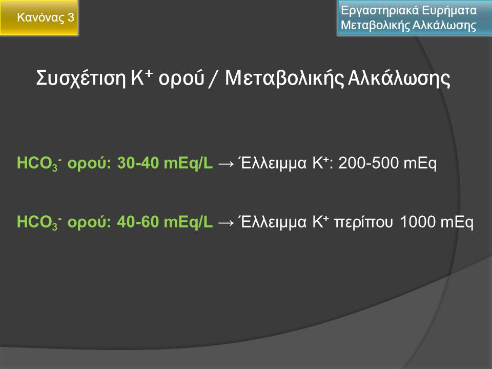 Συσχέτιση Κ+ ορού / Μεταβολικής Αλκάλωσης