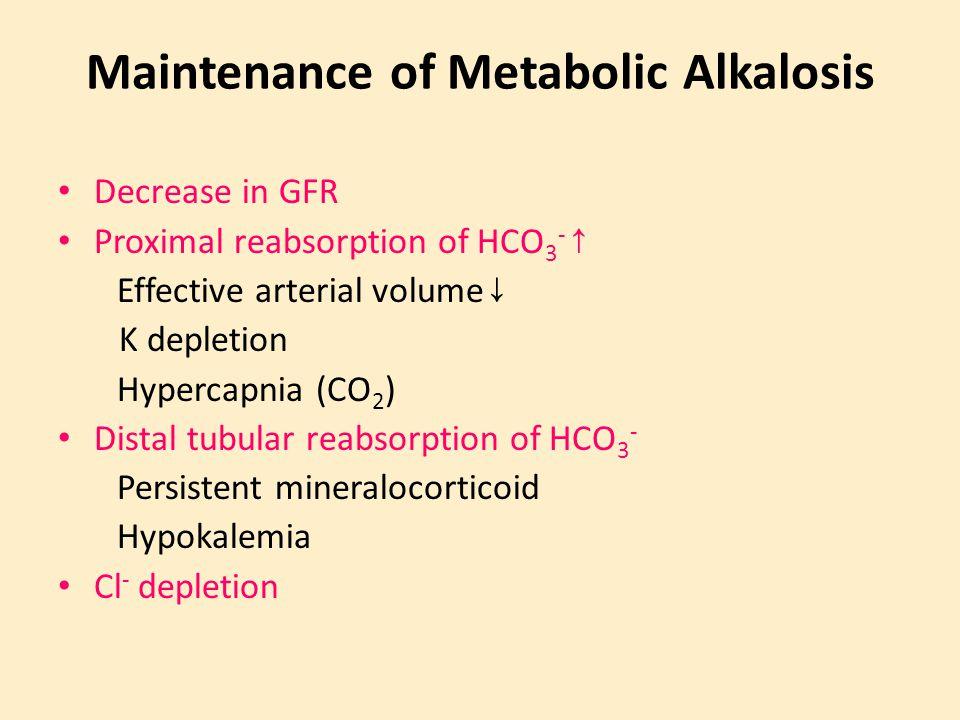 Maintenance of Metabolic Alkalosis