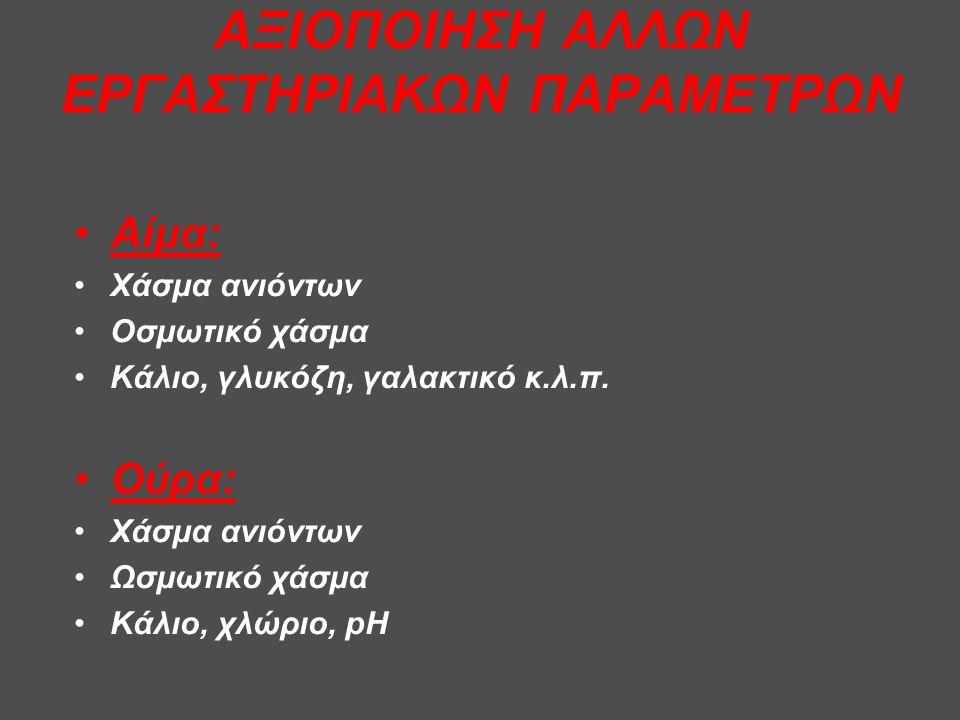 ΑΞΙΟΠΟΙΗΣΗ ΑΛΛΩΝ ΕΡΓΑΣΤΗΡΙΑΚΩΝ ΠΑΡΑΜΕΤΡΩΝ