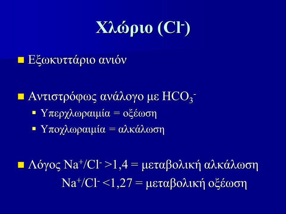 Χλώριο (Cl-) Εξωκυττάριο ανιόν Αντιστρόφως ανάλογο με HCO3-