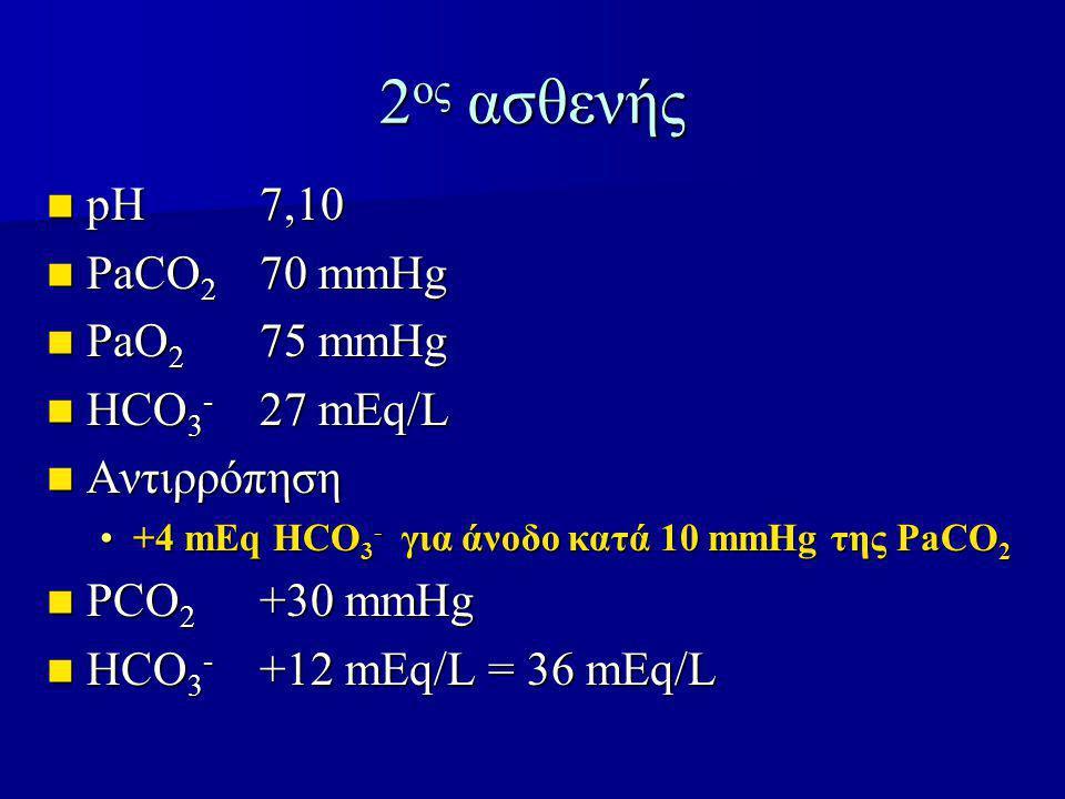 2ος ασθενής pH 7,10 PaCO2 70 mmHg PaO2 75 mmHg HCO3- 27 mEq/L