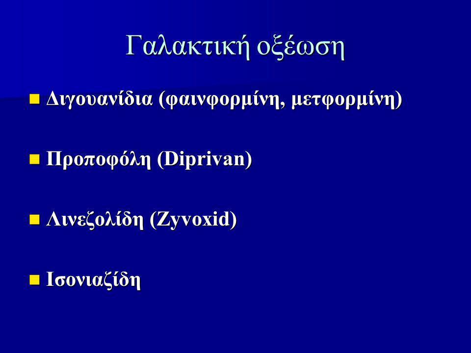 Γαλακτική οξέωση Διγουανίδια (φαινφορμίνη, μετφορμίνη)