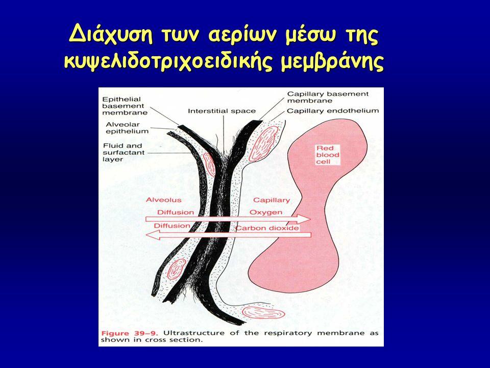 Διάχυση των αερίων μέσω της κυψελιδοτριχοειδικής μεμβράνης
