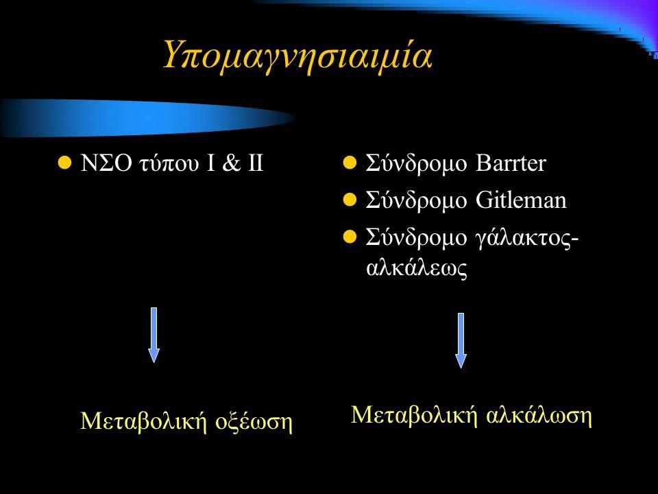 Υπομαγνησιαιμία ΝΣΟ τύπου Ι & ΙΙ Μεταβολική οξέωση Σύνδρομο Barrter