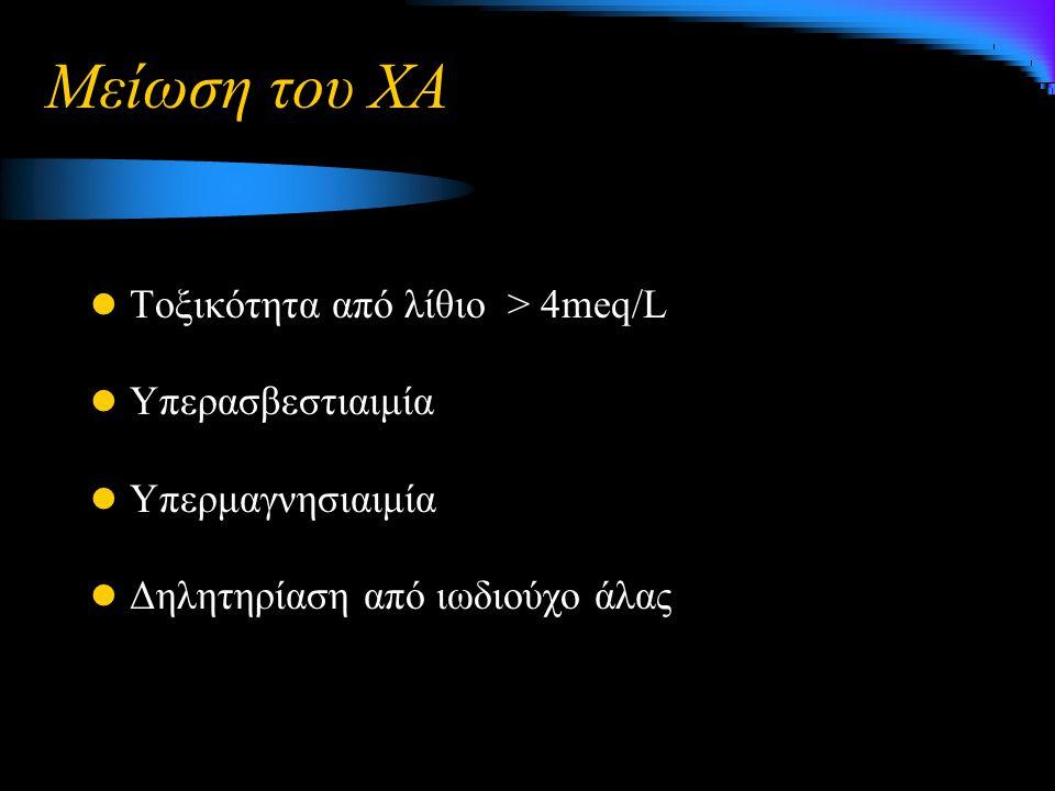 Μείωση του ΧΑ Τοξικότητα από λίθιο > 4meq/L Υπερασβεστιαιμία