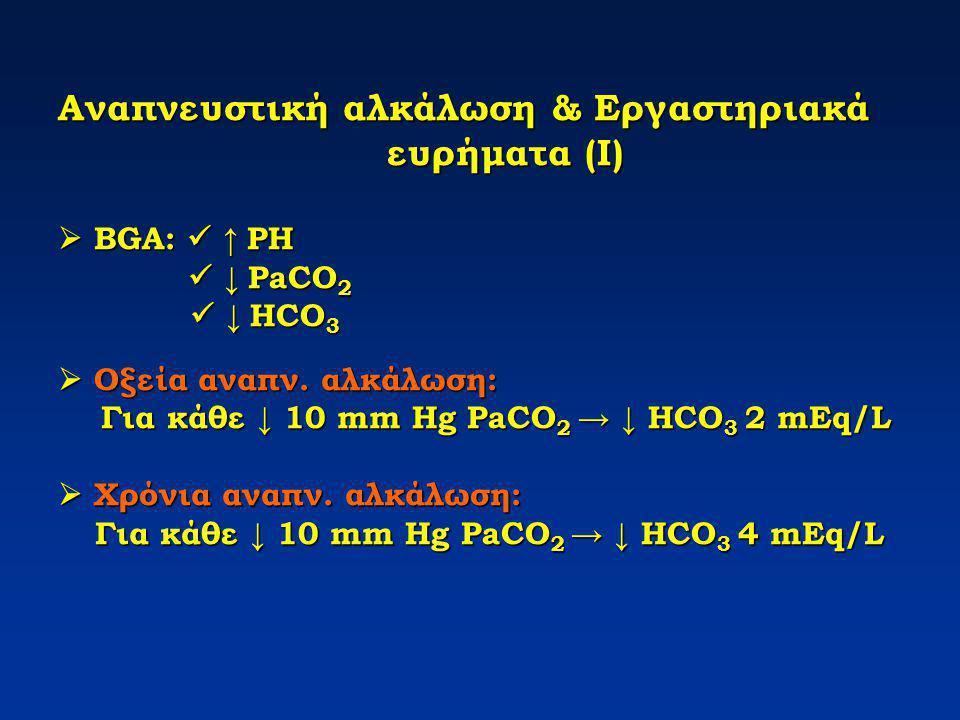 Αναπνευστική αλκάλωση & Εργαστηριακά ευρήματα (Ι)  BGA:  ↑ PH  ↓ PaCO2  ↓ HCO3  Οξεία αναπν.
