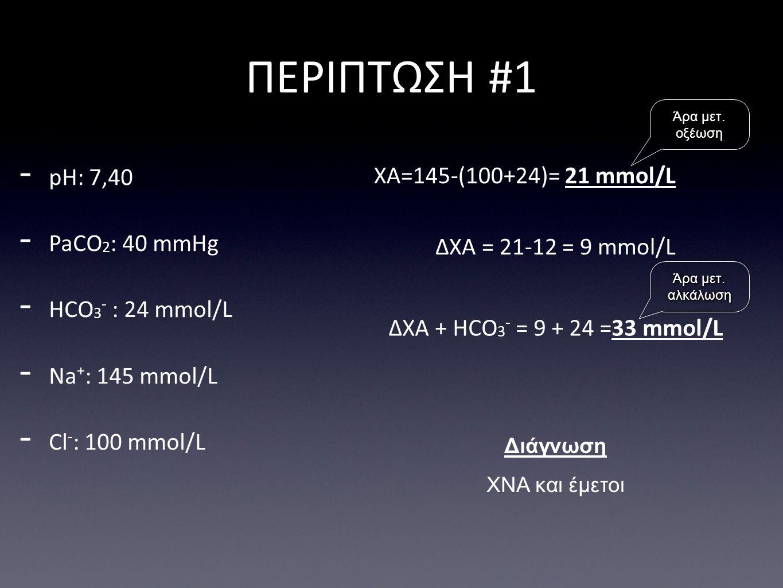 ΠΕΡΙΠΤΩΣΗ #1 pH: 7,40 ΧΑ=145-(100+24)= 21 mmol/L PaCO2: 40 mmHg
