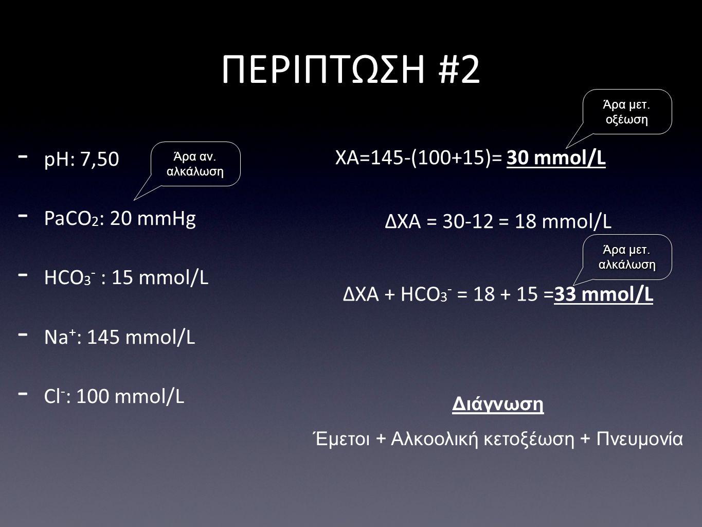 Έμετοι + Αλκοολική κετοξέωση + Πνευμονία