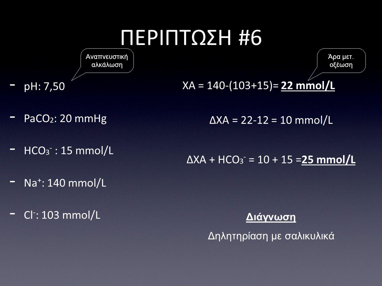 ΠΕΡΙΠΤΩΣΗ #6 pH: 7,50 ΧΑ = 140-(103+15)= 22 mmol/L PaCO2: 20 mmHg
