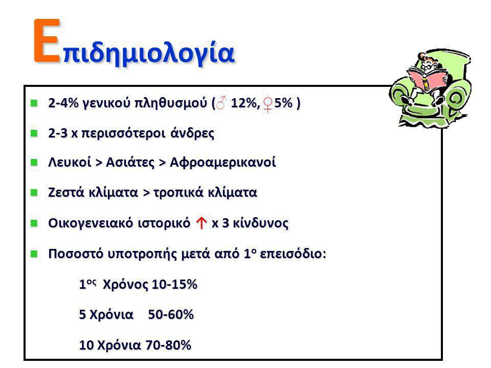 Eπιδημιολογία ♀ 2-4% γενικού πληθυσμού (♂ 12%, 5% )