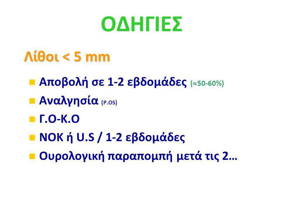 ΟΔΗΓΙΕΣ Λίθοι < 5 mm Αποβολή σε 1-2 εβδομάδες (50-60%)