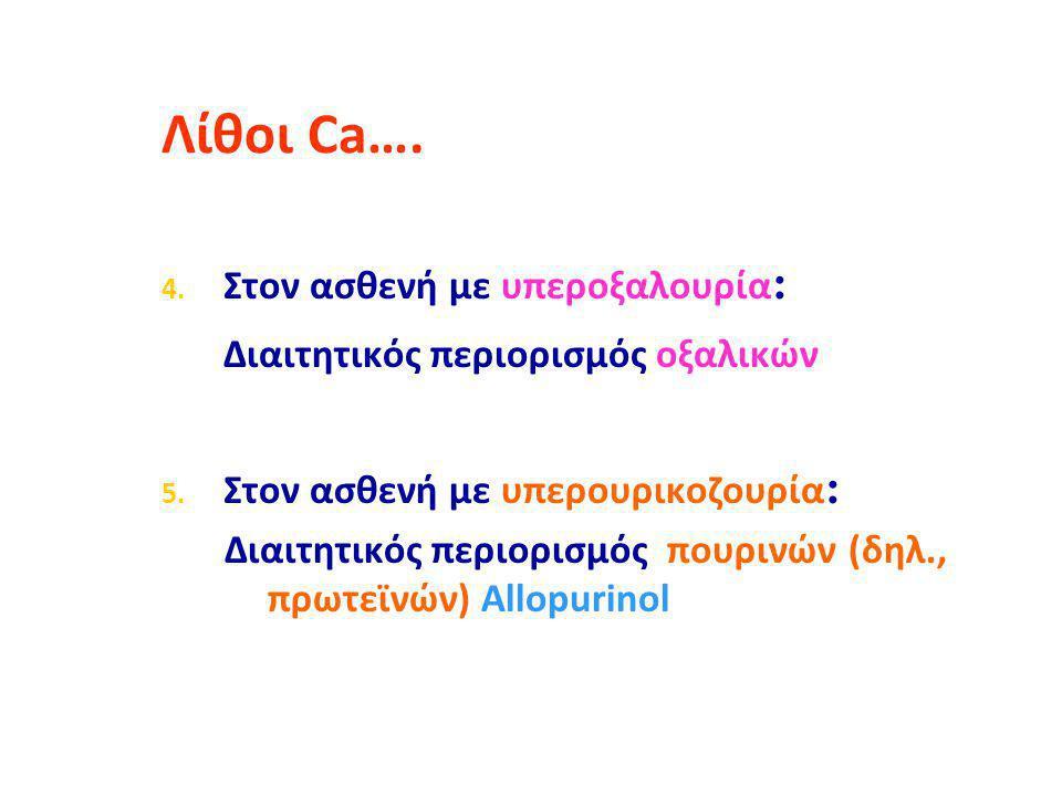 Λίθοι Ca…. Διαιτητικός περιορισμός οξαλικών