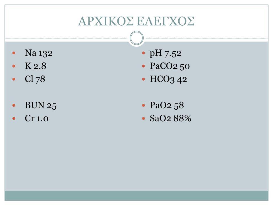 ΑΡΧΙΚΟΣ ΕΛΕΓΧΟΣ Na 132 K 2.8 Cl 78 BUN 25 Cr 1.0 pH 7.52 PaCO2 50