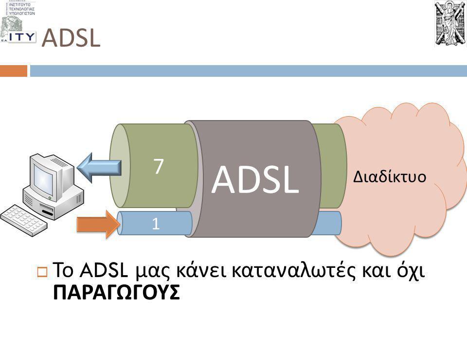 ADSL ADSL 7 Το ADSL μας κάνει καταναλωτές και όχι ΠΑΡΑΓΩΓΟΥΣ Διαδίκτυο