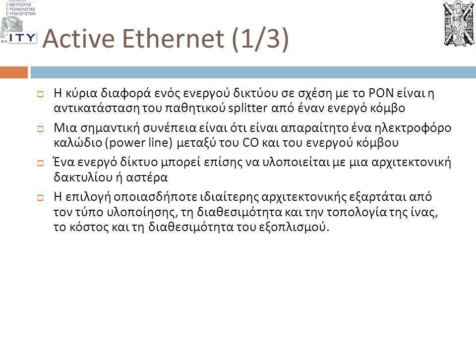 Active Ethernet (1/3) Η κύρια διαφορά ενός ενεργού δικτύου σε σχέση με το PON είναι η αντικατάσταση του παθητικού splitter από έναν ενεργό κόμβο.
