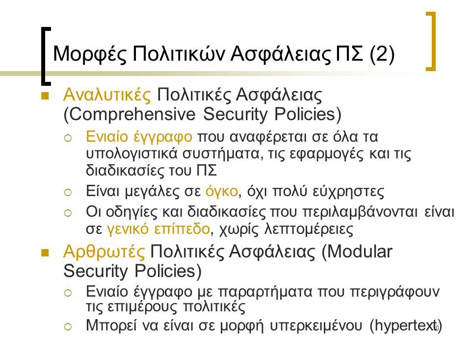 Μορφές Πολιτικών Ασφάλειας ΠΣ (2)
