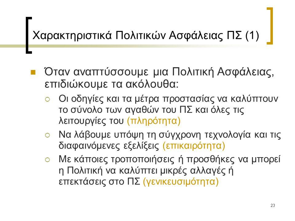 Χαρακτηριστικά Πολιτικών Ασφάλειας ΠΣ (1)