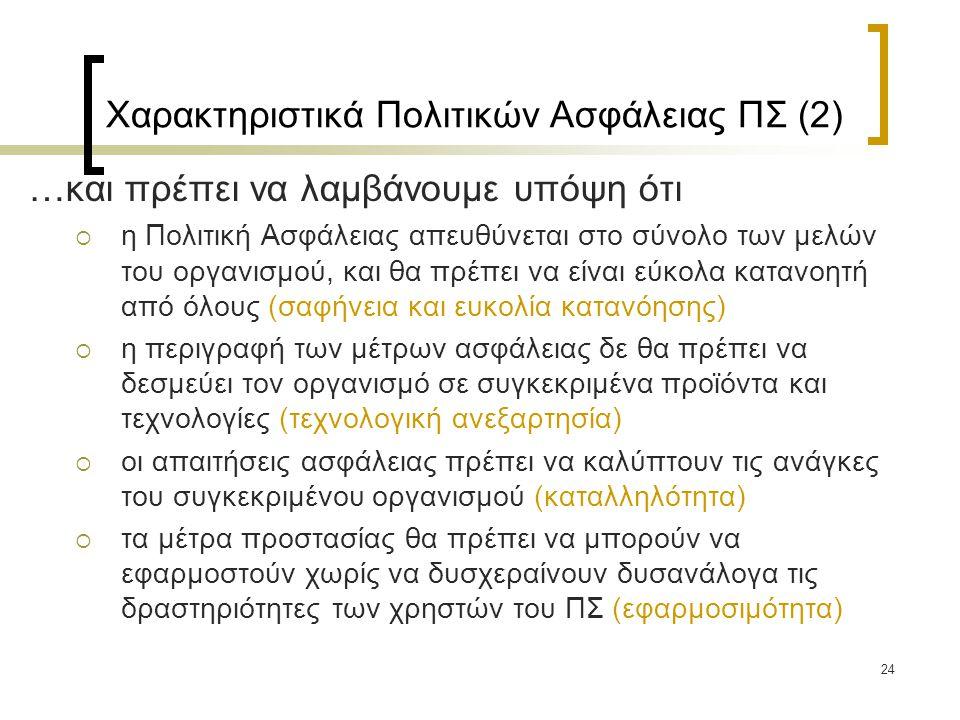 Χαρακτηριστικά Πολιτικών Ασφάλειας ΠΣ (2)