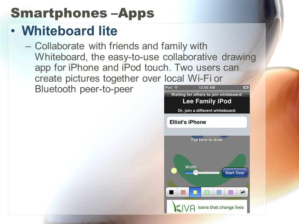 Smartphones –Apps Whiteboard lite