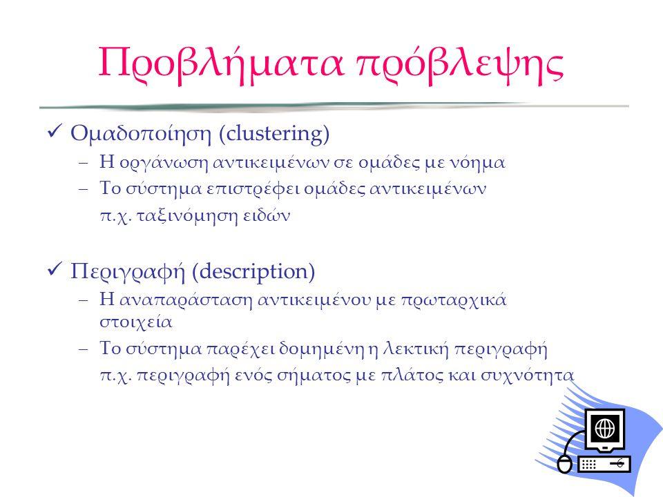 Προβλήματα πρόβλεψης Ομαδοποίηση (clustering) Περιγραφή (description)