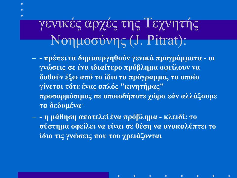 γενικές αρχές της Tεχνητής Nοημοσύνης (J. Pitrat):