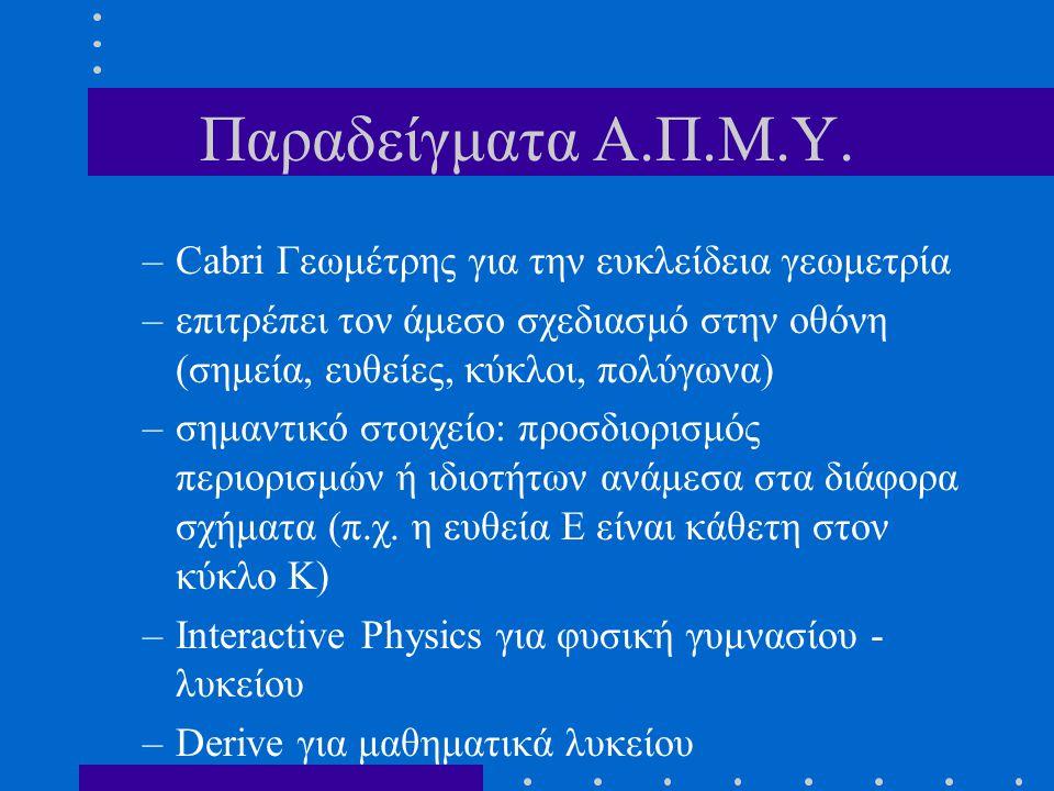 Παραδείγματα Α.Π.Μ.Υ. Cabri Γεωμέτρης για την ευκλείδεια γεωμετρία