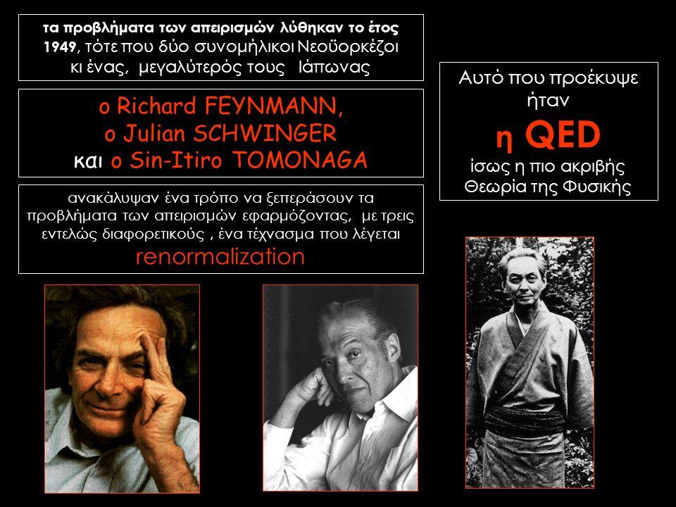 η QED ο Richard FEYNMANN, o Julian SCHWINGER και ο Sin-Itiro TOMONAGA