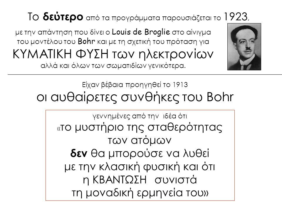 οι αυθαίρετες συνθήκες του Bohr