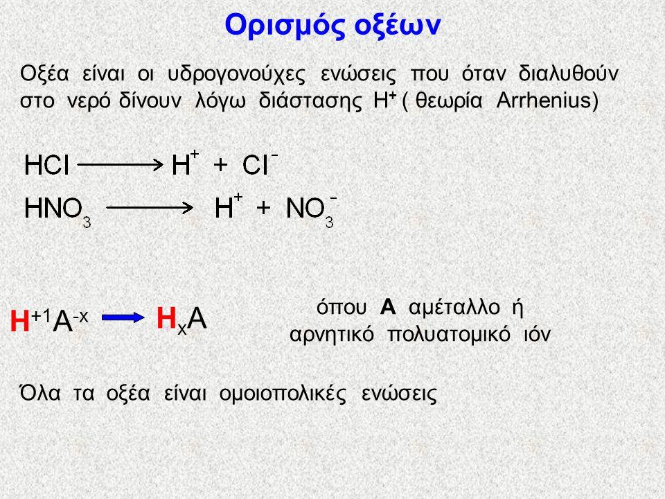όπου Α αμέταλλο ή αρνητικό πολυατομικό ιόν