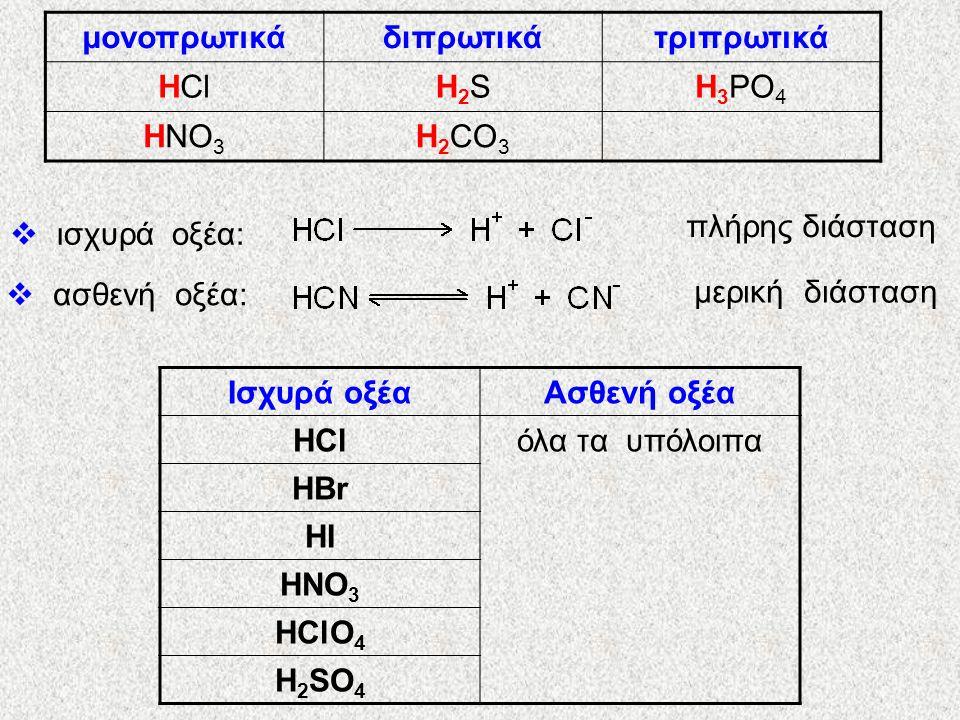 μονοπρωτικά διπρωτικά. τριπρωτικά. HCl. H2S. H3PO4. HNO3. H2CO3. πλήρης διάσταση. ισχυρά οξέα: