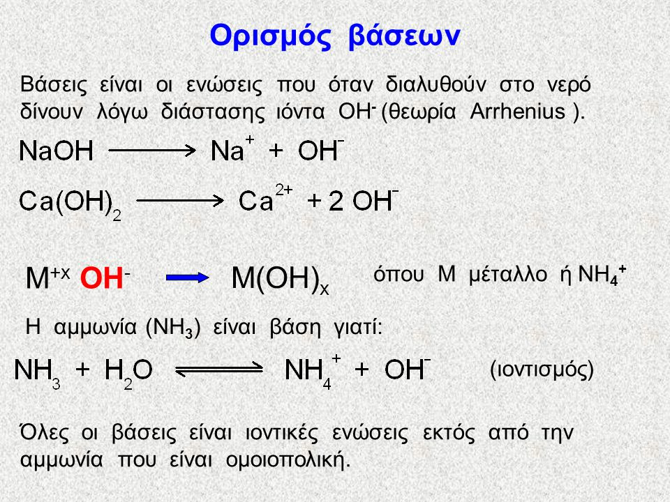 Ορισμός βάσεων M+x OH- M(OH)x