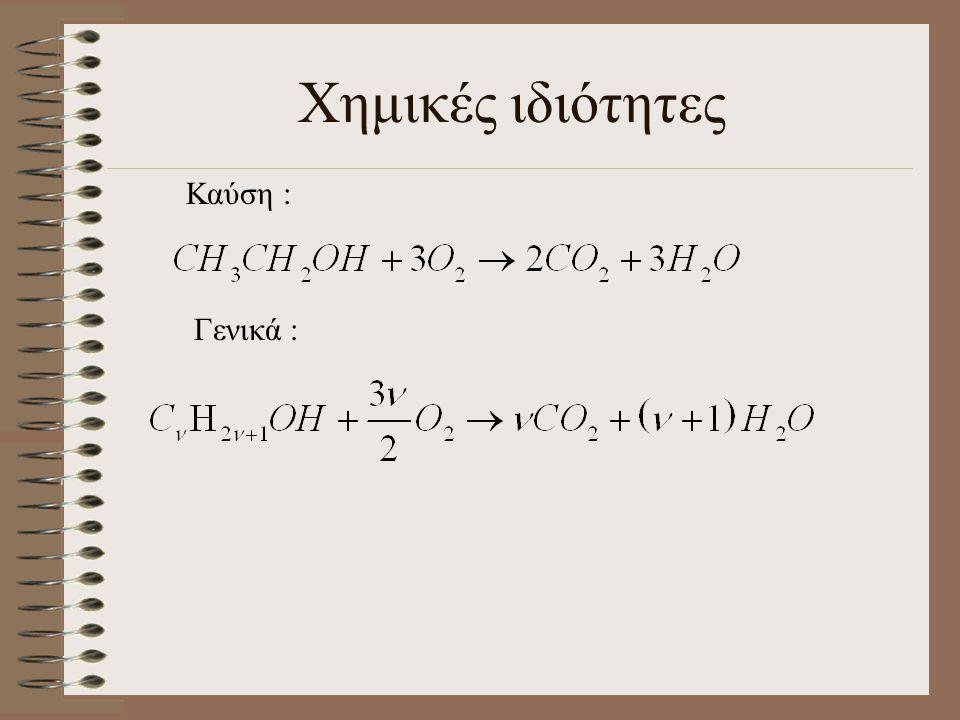 Χημικές ιδιότητες Καύση : Γενικά :