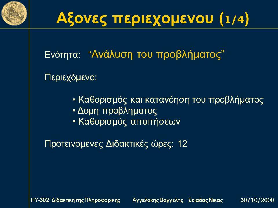 Αξονες περιεχομενου (1/4)